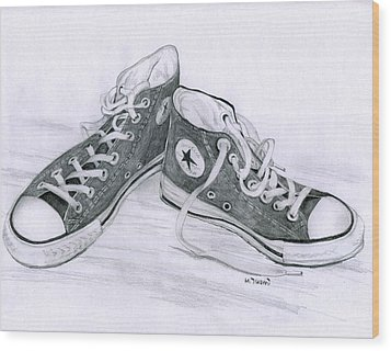 Sam's Shoes Wood Print by Mary Tuomi