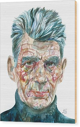 Wood Print featuring the painting Samuel Beckett Watercolor Portrait.10 by Fabrizio Cassetta