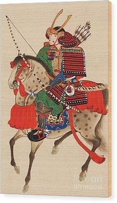 Samurai On Horseback Wood Print by Pg Reproductions