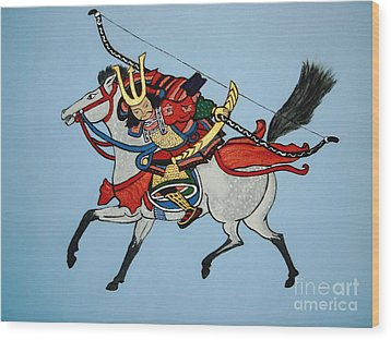 Wood Print featuring the painting Samurai Rider by Stephanie Moore