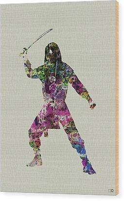 Samurai With A Sword Wood Print by Naxart Studio