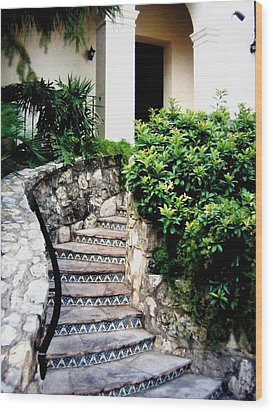 San Antonio Stairway Wood Print by Will Borden