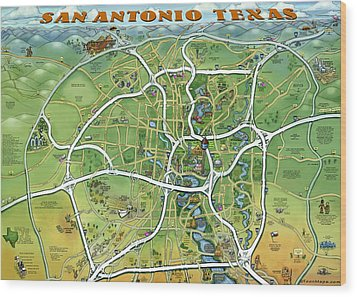 Wood Print featuring the painting San Antonio Texas Cartoon Map by Kevin Middleton