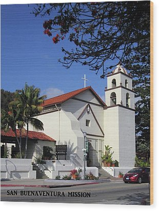 Wood Print featuring the photograph San Buenaventura Mission by Mary Ellen Frazee