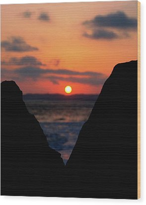 San Clemente Beach Rock View Sunset Portrait Wood Print