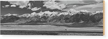 San De Cristo Mountains Panorama In Black And White Wood Print by James BO Insogna
