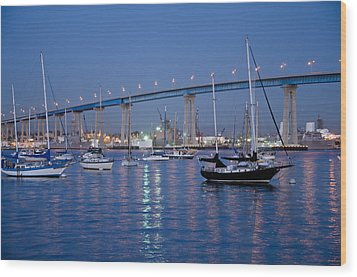 San Diego Bay At Nightfall Wood Print by Margaret Pitcher
