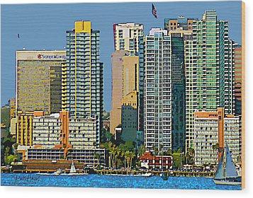 San Diego Downtown Living - Bayside Wood Print by Russ Harris