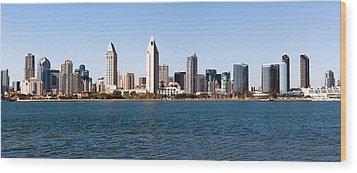 San Diego Panorama Wood Print by Paul Velgos