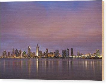 San Diego Skyline Wood Print by Adam Romanowicz