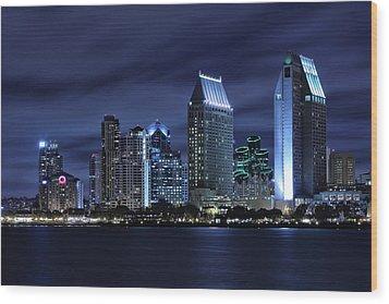 San Diego Skyline At Night Wood Print by Larry Marshall