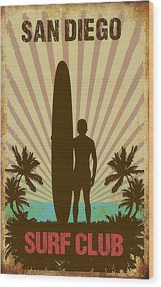 Wood Print featuring the digital art San Diego Surf Club by Greg Sharpe