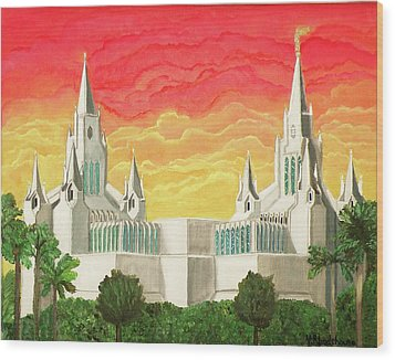 San Diego Temple Wood Print