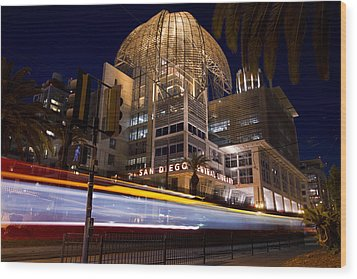 Wood Print featuring the photograph San Diego Trolley In Front Of The San Diego Public Library by Nathan Rupert