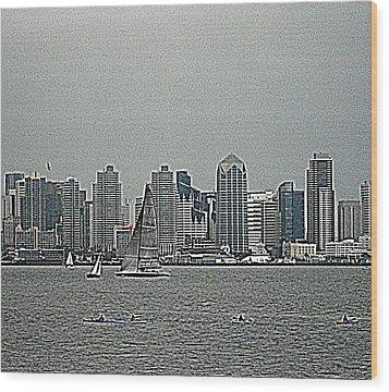 San Diego Waterfront Wood Print
