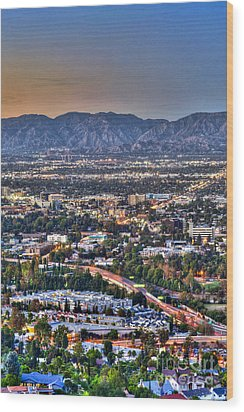 San Fernando Valley Vertical Wood Print by David Zanzinger