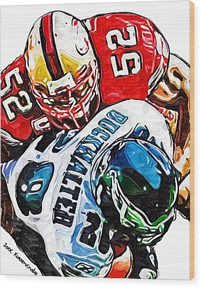 San Francisco 49ers Patrick Willis Philadelphia Eagles Correll Buckhalter  Wood Print by Jack K