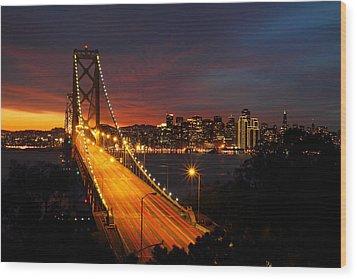 San Francisco Bay Bridge At Sunset Wood Print by Pierre Leclerc Photography