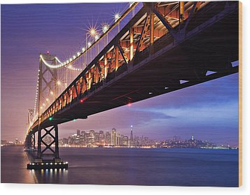 San Francisco Bay Bridge Wood Print by Photo by Mike Shaw