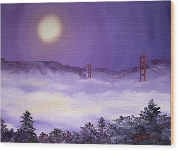 San Francisco Bay In Purple Fog Wood Print by Laura Iverson