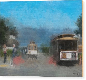 San Francisco Cable Car Wood Print by Fred Baird
