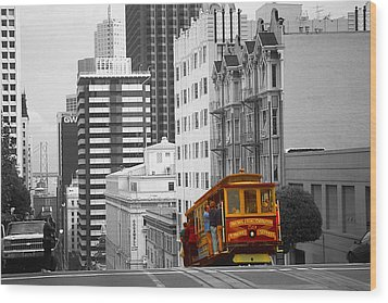 San Francisco - Red Cable Car Wood Print
