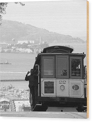 San Francisco Cable Car With Alcatraz Wood Print by Shane Kelly