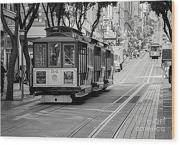 San Francisco Cable Cars Wood Print by Eddie Yerkish