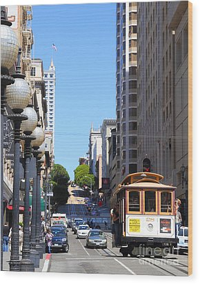San Francisco Cablecar On Powell Street Wood Print by Wingsdomain Art and Photography