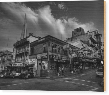 Wood Print featuring the photograph San Francisco - Chinatown 002 Bw by Lance Vaughn