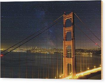 San Francisco City Skyline Through Golden Gate Bridge Wood Print by David Gn