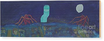 San Francisco Coit Tower Abstract Wood Print