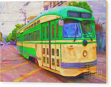 San Francisco F-line Trolley Wood Print by Wingsdomain Art and Photography
