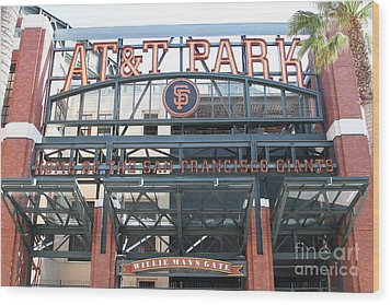 San Francisco Giants Att Park Willie Mays Entrance . 7d7635 Wood Print by Wingsdomain Art and Photography