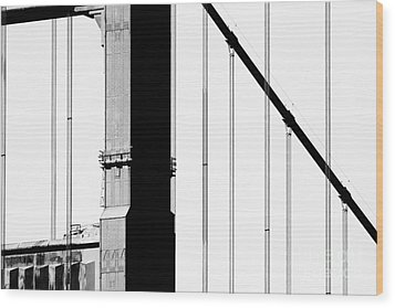 San Francisco Golden Gate Bridge . Black And White Photograph . 7d7954 Wood Print by Wingsdomain Art and Photography