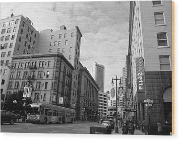 San Francisco - Jessie Street View - Black And White Wood Print by Matt Harang