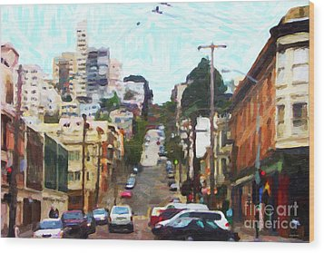 San Francisco Lombard Street Wood Print by Wingsdomain Art and Photography