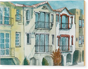 Wood Print featuring the painting San Francisco by Lynn Babineau