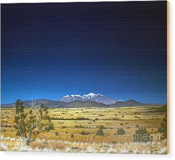 San Francisco Peaks Wood Print by Jerry Bokowski