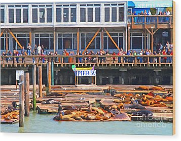 San Francisco Pier 39 Sea Lions . 7d14272 Wood Print by Wingsdomain Art and Photography