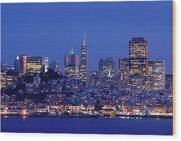 San Francisco Skyline At Dusk Wood Print by David Rout