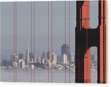 San Francisco Skyline From Golden Gate Bridge Wood Print by Mona T. Brooks