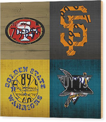 San Francisco Sports Fan Recycled Vintage California License Plate Art 49ers Giants Warriors Sharks Wood Print by Design Turnpike