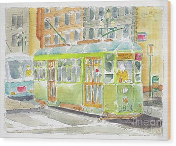 Wood Print featuring the painting San Francisco Streetcar by Pat Katz