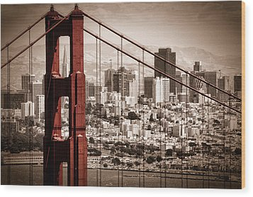San Francisco Through The Bridge Wood Print