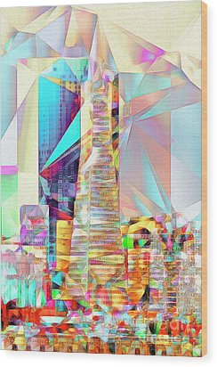 Wood Print featuring the photograph San Francisco Transamerica Tower In Abstract Cubism 20170326 V2 by Wingsdomain Art and Photography