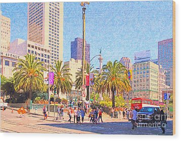 San Francisco Union Square Wood Print by Wingsdomain Art and Photography