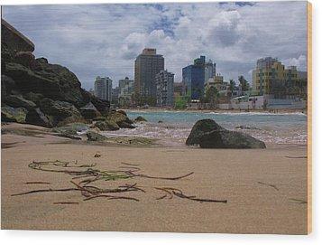 San Juan Beach Iv Wood Print by Anna Villarreal Garbis
