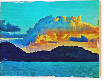 Wood Print featuring the painting San Juan Seascape by Joan Reese