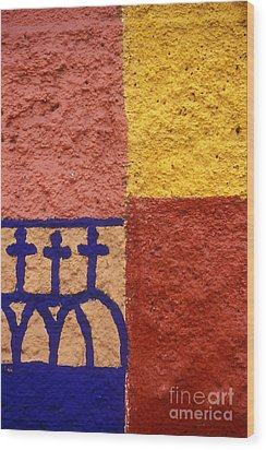 Wood Print featuring the photograph San Miguel Wall San Miguel De Allende Mexico by John  Mitchell